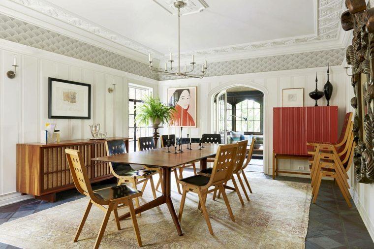 muebles estilo clasico obras arte pared comedor ideas
