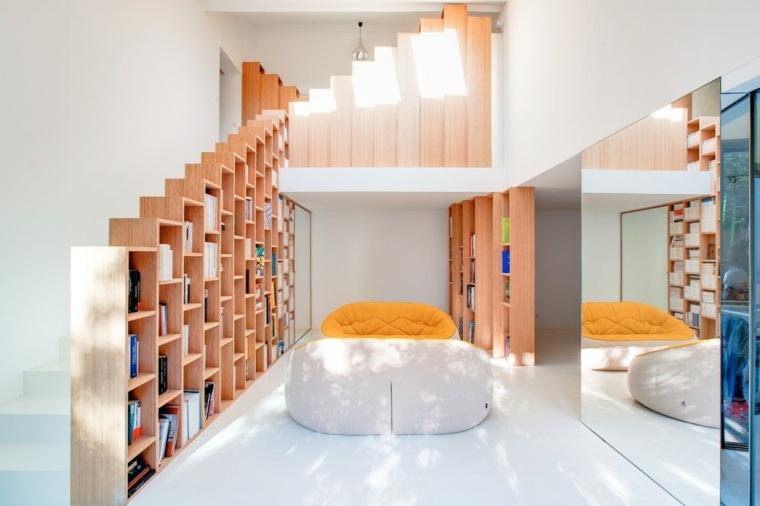 muebles libreria estantes colores espejos