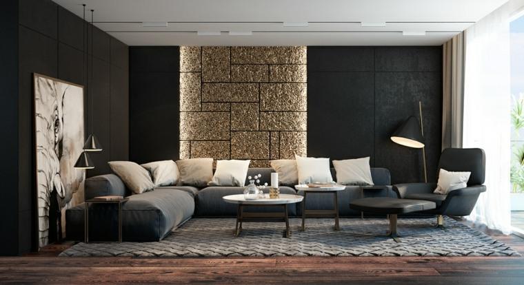negro acentos color reformas dorados paredes