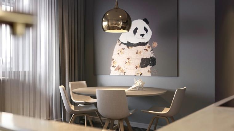 obras de arte panda cuadro moderno comedor ideas