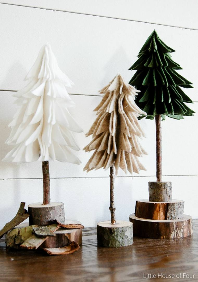 originales abetos navideños madera fieltro
