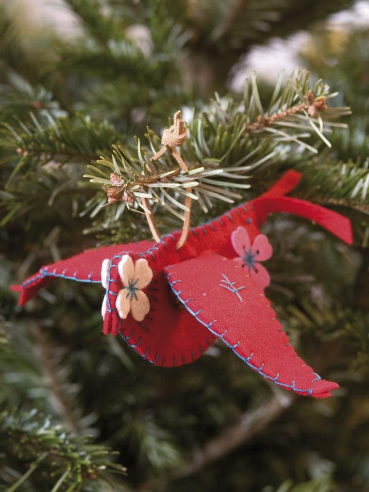 ornamento fieltro adornos arboles rojo