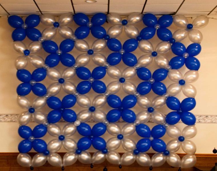 pared decorada globos flores