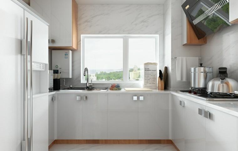 paredes marmol cocina blanca puertas