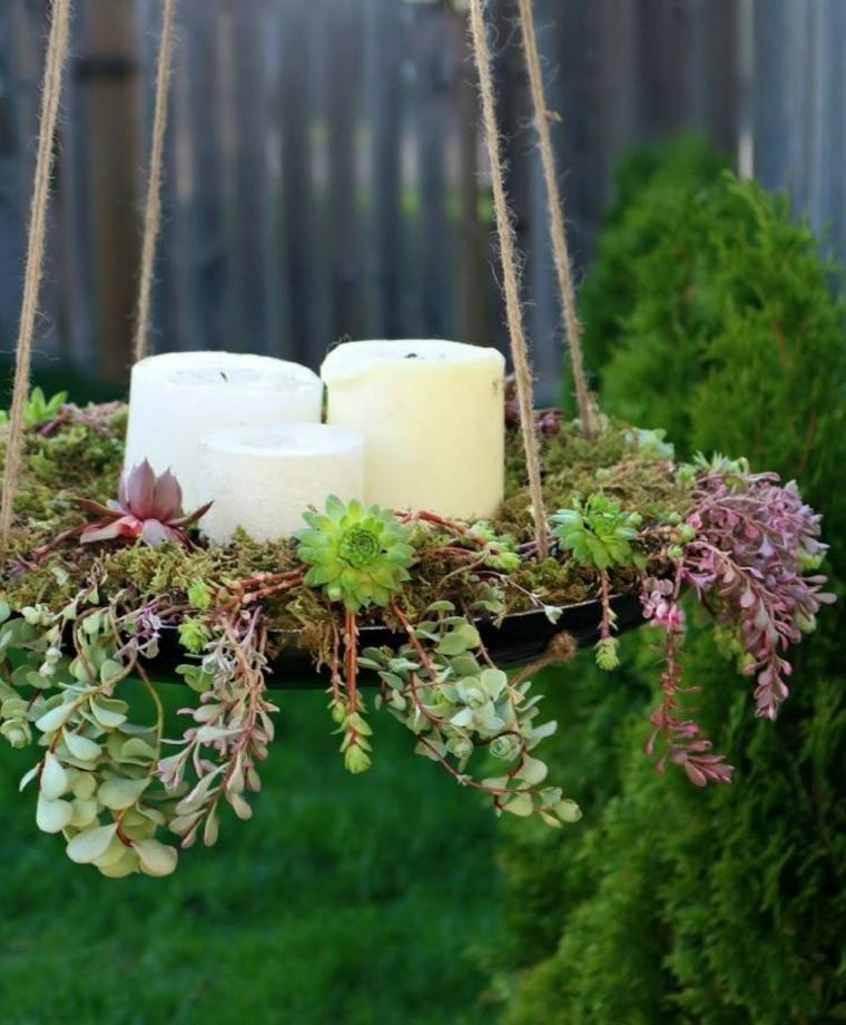 plato colgante velas plantas