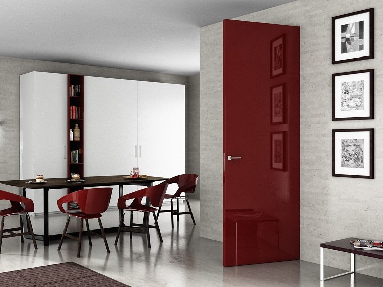 puerta roja ermetica diseno moderno ideas