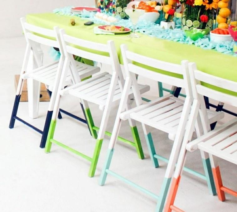 reciclar muebles antiguos sillas pintadas blanco colores ideas