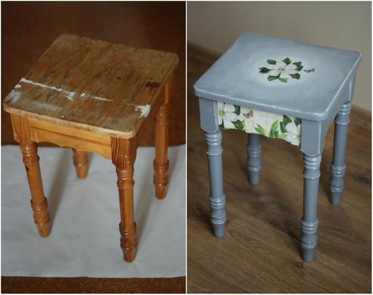 reciclar muebles antiguos taburete madera reciclado ideas