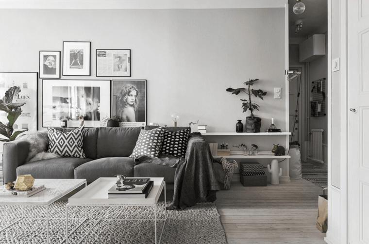 sala de estar blanco gris