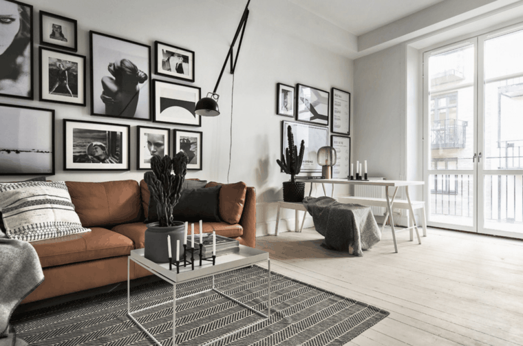 sala de estar sofa piel