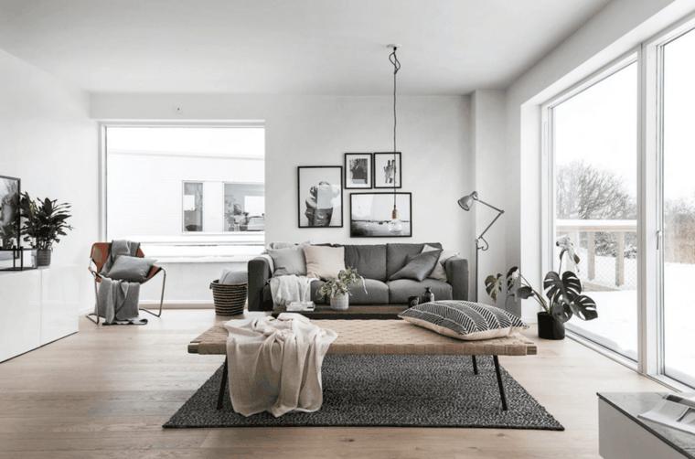 sala de estar sofa gris
