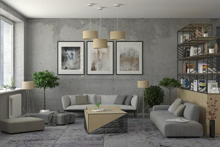 sala industrial colores neutros estilos