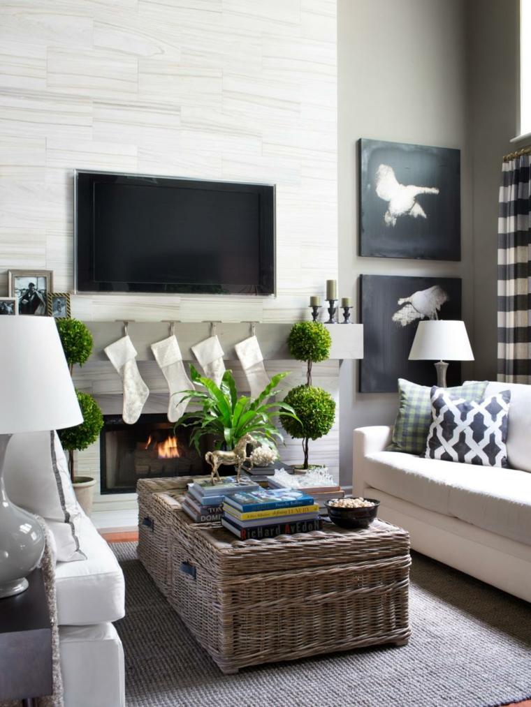 salon blanco negro decorado colores