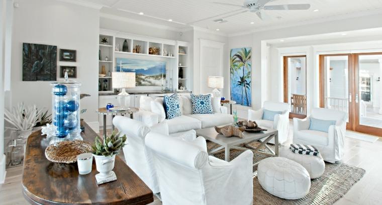 salon estilo chic muebles blancos