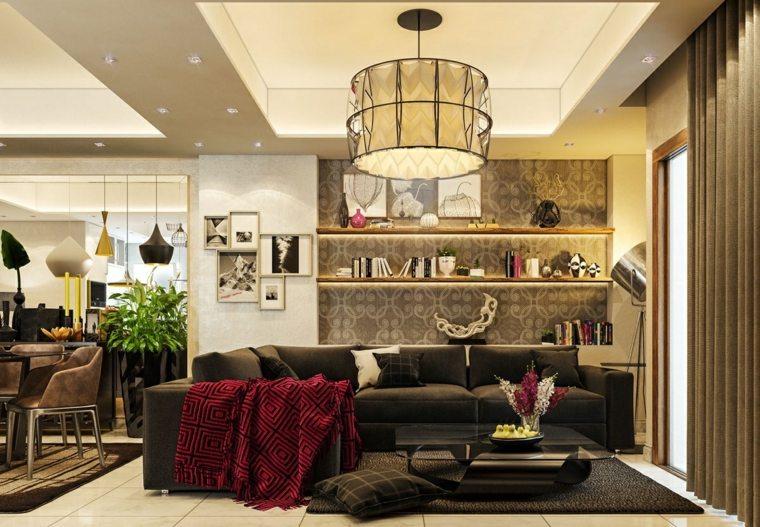 salon decoracion contemporaneo formas cuadros cortinas