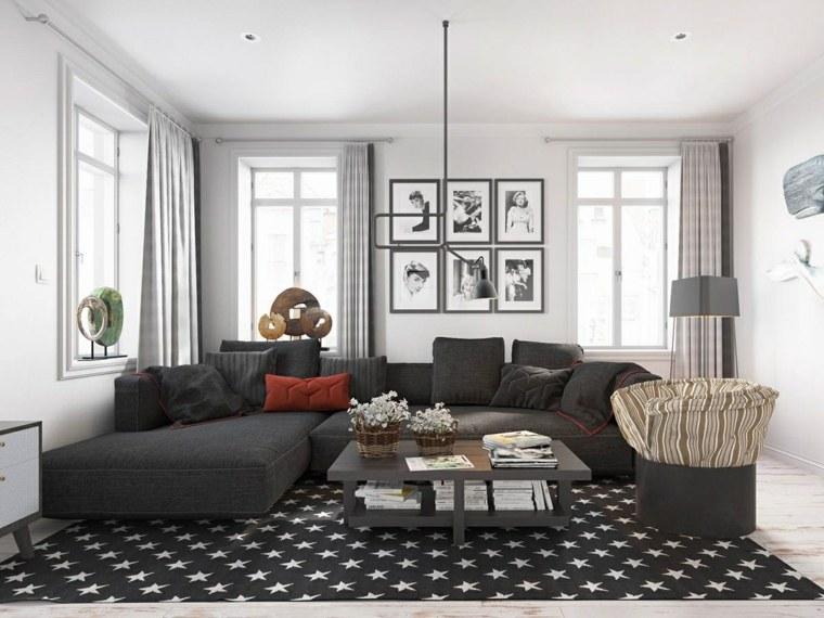 salon decoracion cuadros composiciones alfombras