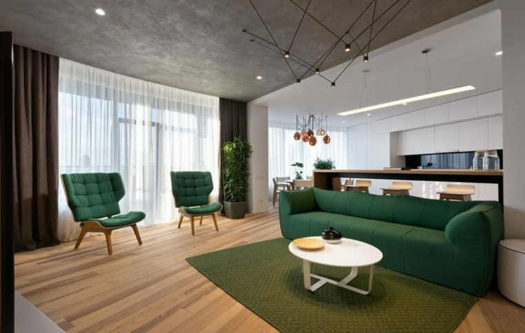 salon moderno diseno minimalista muebles verdes mideas