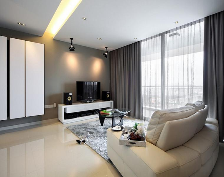 salón moderno cortinas lisas