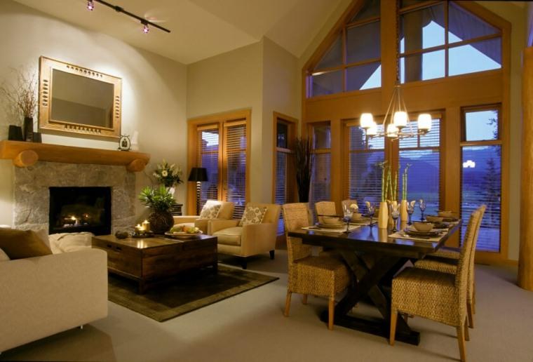 Salones comedores, dos e uno y el diseño del interior -