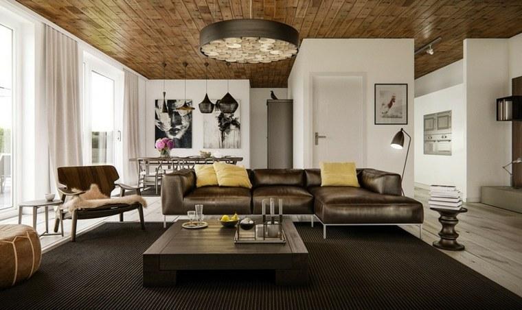 decoración de interiores sofa muebles marron oscuro diseno ideas