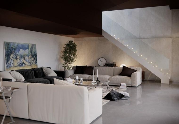 sofas blancas salon amplio diseno 2017 ideas