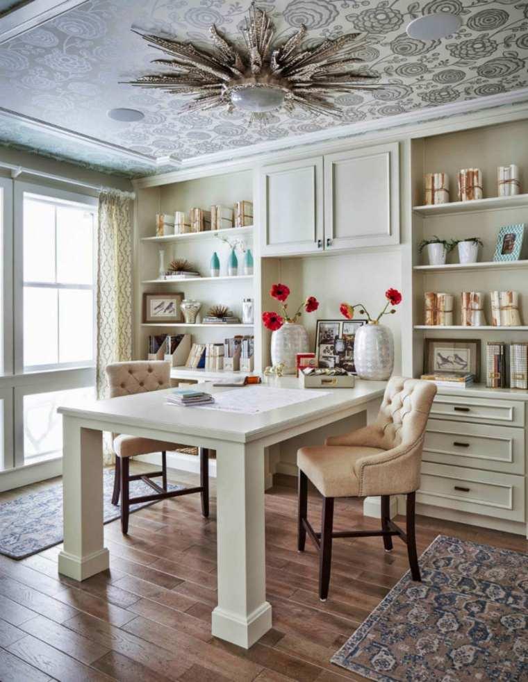 sofisticada oficina casa muebles techo