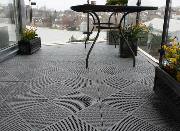 terraza suelos geometrico gris cristales