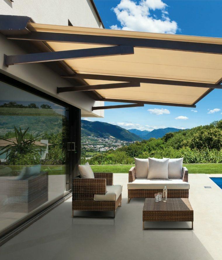Tipos de toldos 24 opciones para protegerte del sol for Muebles terraza diseno