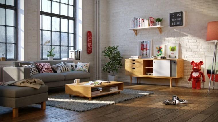 vivienda orden muebles sillones madera color grises