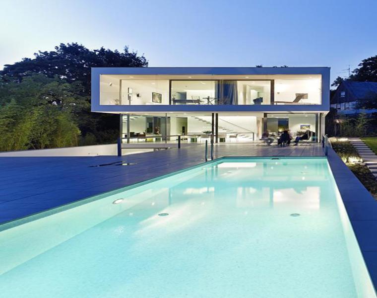 Puristische Villa diseño Netzwerkarchitekten