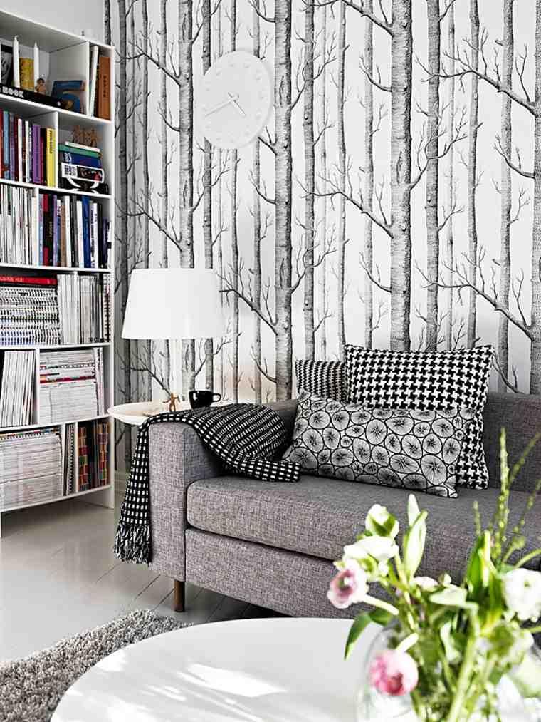 acentos grises paredes muebles flores