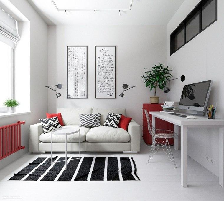acentos rojo zona trabajo especial muebles