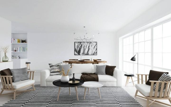 alfombra cojines rayas combinadas estilos