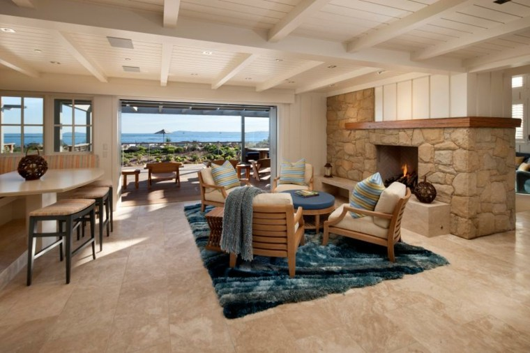 alfombra rocas tilos muebles azules
