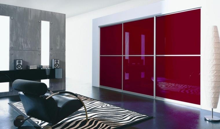 armario empotrado superficies rojo listones