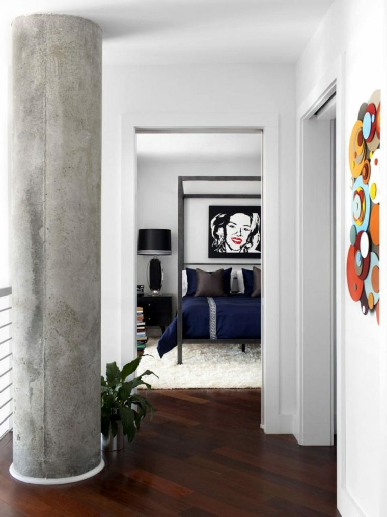 arte cama dosel paredes listones maderas