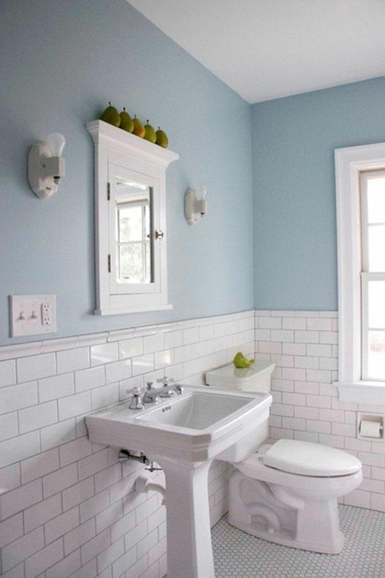 azulejos blancos metro baño