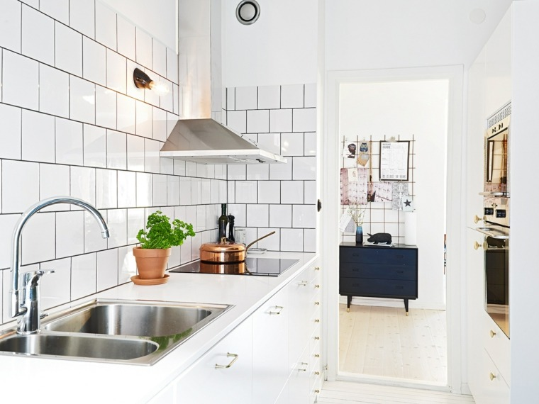 azulejos cocina blancos forma cuadrada