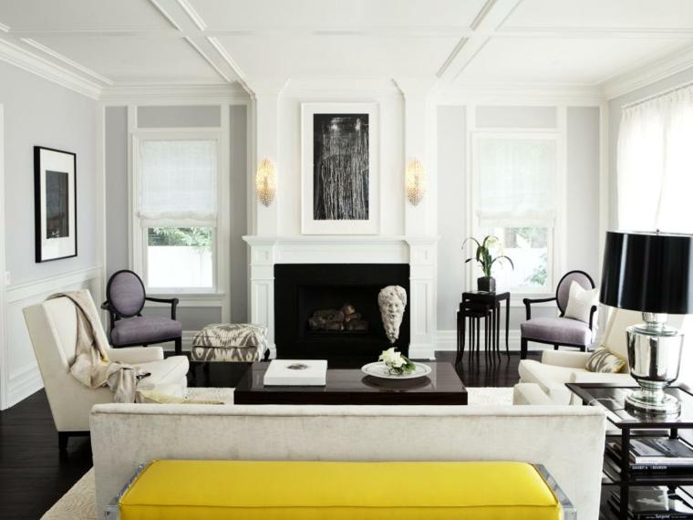 blanco negro contrastes chimeneas sillones