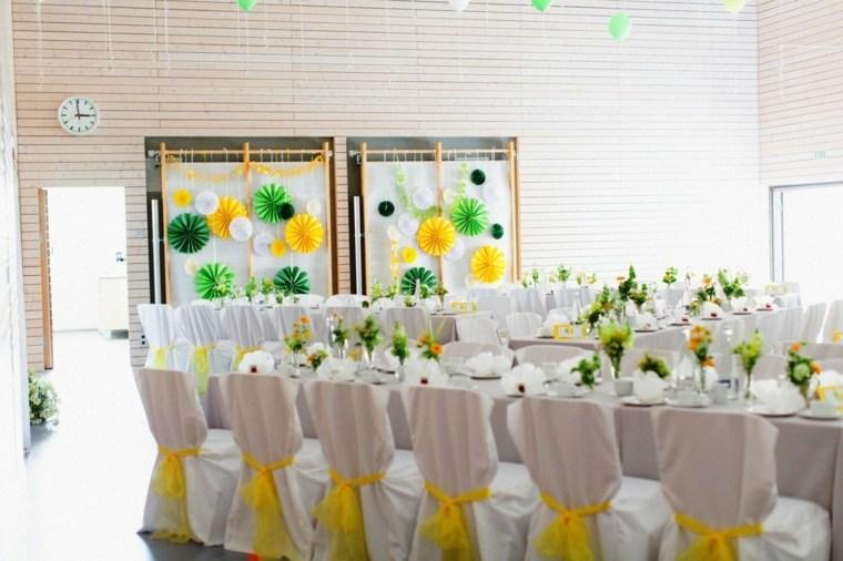 bodas sencillas decoracion blanco amarillo diseno ideas