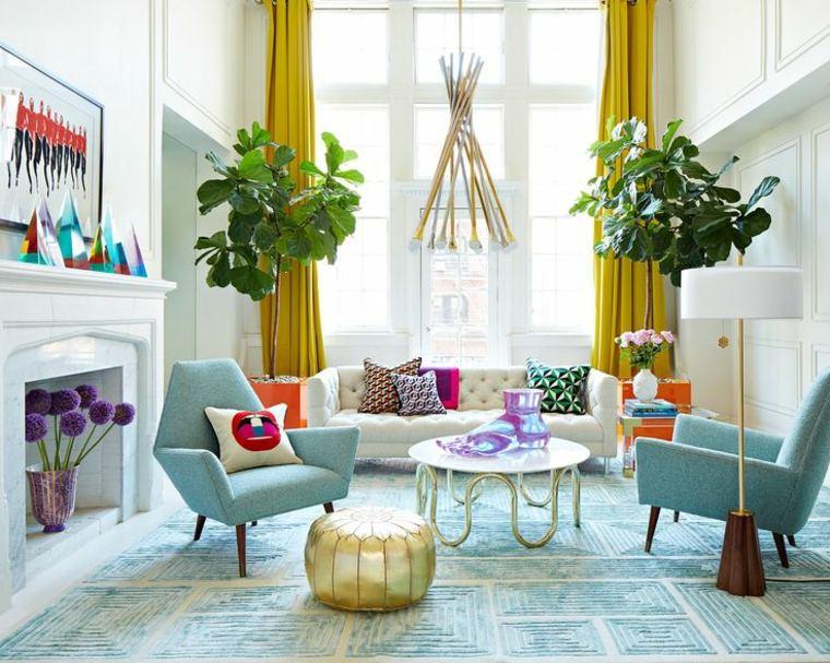 bonito salon sillones azules