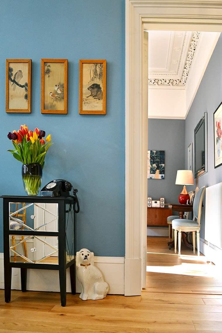 bonita pintura pared azul