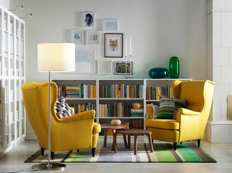 bonita sala estar sillones amarillos