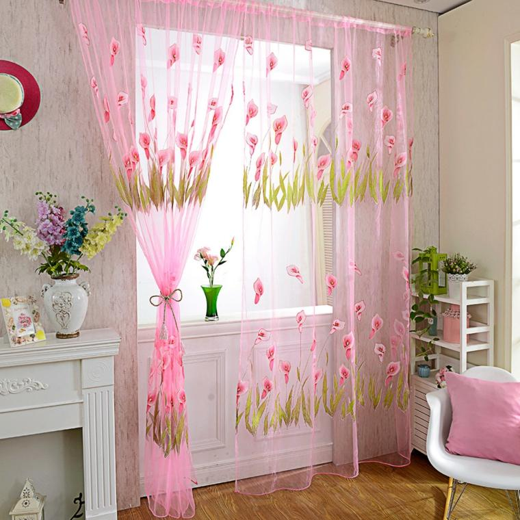 bonita cortina tela transparente