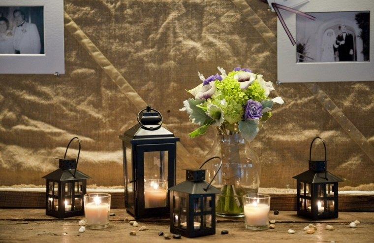 bonita decoracion mesa varias linternas