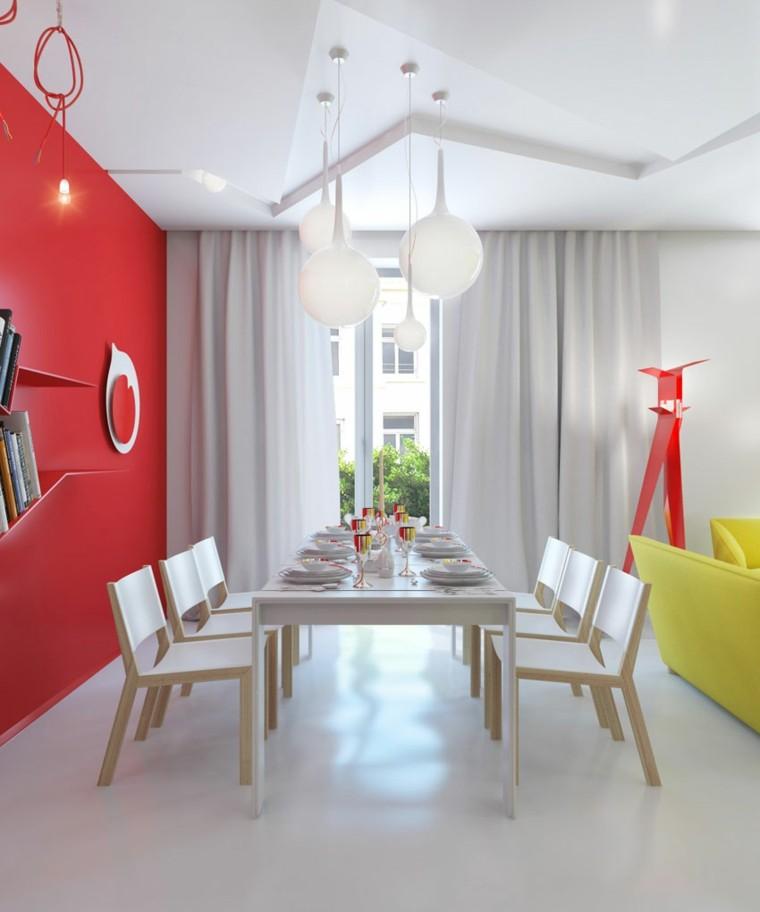 bonito comedor pared color rojo