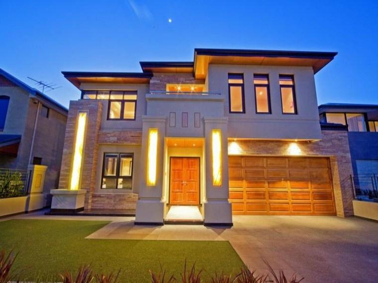 bonito diseo luces fachada - Chalets Modernos