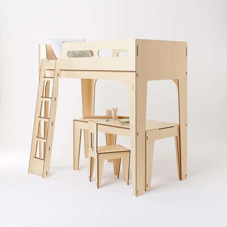cama alta escritorio madera