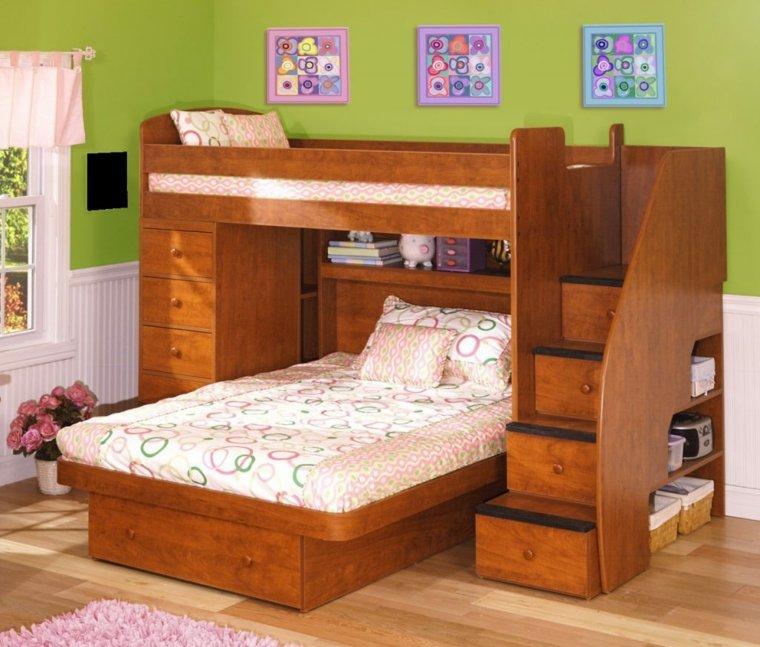 cama madera litera con escalones