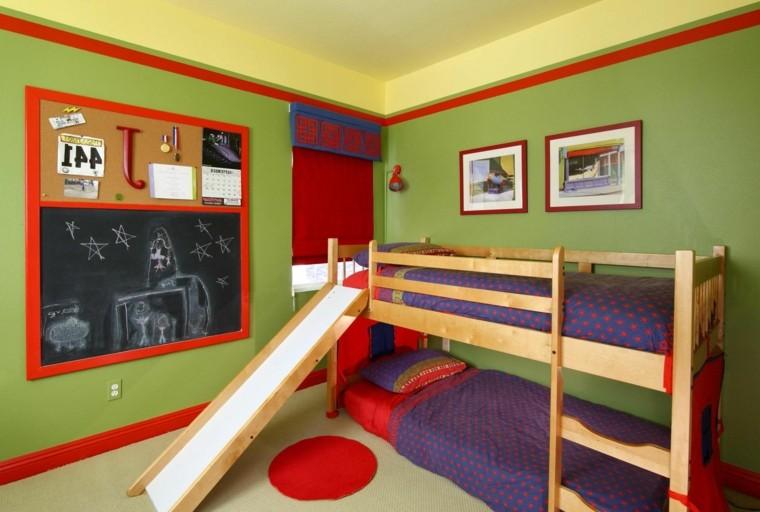 cama infantil litera tobogan madera